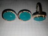 Кольцо и серьги серебро 925 с золотой вставкой и большим камнем, фото №9
