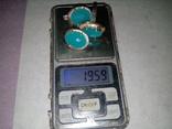 Кольцо и серьги серебро 925 с золотой вставкой и большим камнем, фото №10