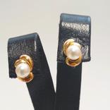 Золотые серьги с жемчугом, фото №2