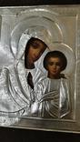 Срібна  Ікона Казанская Божа матір в кіоті, фото №8