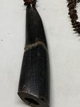 Винтажные бусы с англии с кулоном из рога животного, фото №3