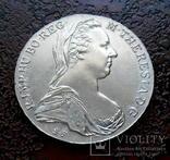 Талер Австро-Венгрии 1780 состояние UNC серебро рестрайк, фото №2