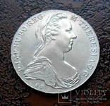 Талер Австро-Венгрии 1780 состояние UNC серебро рестрайк, фото №4