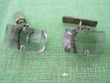Запонки серебро 875 камень ( 6ПЗ ) 11.1гр., фото №2