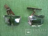 Запонки серебро 875 камень ( 6ПЗ ) 11.1гр., фото №3
