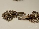 Набор сережки и кольцо серебро 925 пробы с камнями, фото №3