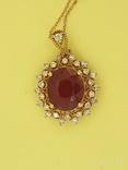Кулон розовое золото,натуральный Рубин, Бриллианты