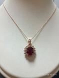 Кулон розовое золото,натуральный Рубин, Бриллианты фото 2