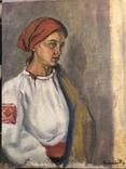 """Контратович """"Портрет девушки в красном платке"""", фото №2"""