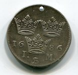 1 Марка Швеция Серебро Карл XI король Швеции (1655-1697), фото №3