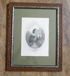 Французская гравюра середины 19 века. Девушка с цветами., фото №2