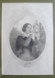 Французская гравюра середины 19 века. Девушка с цветами., фото №3