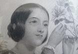 Французская гравюра середины 19 века. Девушка с цветами., фото №6