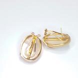 Винтажные золотые серьги с натуральным перламутром и бриллиантами, фото №6