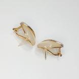 Винтажные золотые серьги с натуральным перламутром и бриллиантами, фото №7