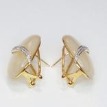 Винтажные золотые серьги с натуральным перламутром и бриллиантами, фото №8