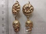 Античные золотые серьги  вес 9.1, фото №6