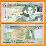 Восточные Карибы 5 долларов 2015 фауна черепаха UNС, фото №2