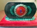 Визитница настольная, малахит, серебро, горячие эмали, фото №5