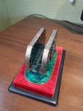 Визитница настольная, малахит, серебро, горячие эмали, фото №6