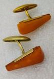 Запонки СССР янтарь позолота 9ЯК, фото №3
