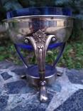 Ваза конфетница изящная металл стекло, фото №2