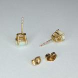 Миниатюрные золотые серьги-гвоздики с натуральными опалами, фото №12