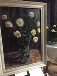 Свадебные розы масло холст 98/72 в раме 83/57 без, фото №2