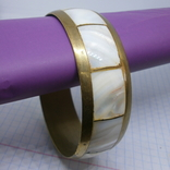 Винтажный латунный браслет с натуральными  перламутровыми вставками, фото №2