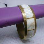 Винтажный латунный браслет с натуральными  перламутровыми вставками, фото №3