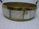 Винтажный латунный браслет с натуральными  перламутровыми вставками, фото №6