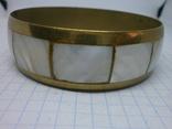 Винтажный латунный браслет с натуральными  перламутровыми вставками, фото №7