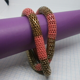 Браслет из двух переплетенных полых змеек. гибкий, фото №2