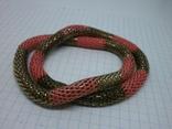 Браслет из двух переплетенных полых змеек. гибкий, фото №3
