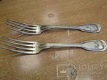 """Дві виделки з ініціаліми HN Christofle Франція 1844-1862 """"91"""", вага двух 129 грм., фото №2"""