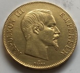 100 франков 1858 год Франция золото 32,23 грамма 900', фото №2
