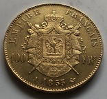 100 франков 1855 год Франция золото 32,23 грамма 900', фото №3
