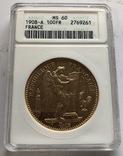100 франков 1908 год Франция золото 32,23 грамма 900', фото №2