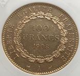 100 франков 1908 год Франция золото 32,23 грамма 900', фото №5