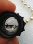 Браслет искуственный жемчуг застежка серебро покрытие родий, фото №6
