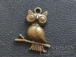 Сова на ветке кулон брелок миниатюра, фото №2