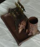 Чернильный прибор с кабаном в раскраске., фото №10