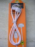 Кабель USB Hoco X1 Rapid Charging Cable Dock iPhone 4 Cable White, фото №3