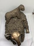 Бронзовая скульптура  «Овца с ягненком на спине», VB033, 1,7 кг, поврежденные уши, фото №11