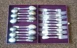Новый серебряный набор столовых вилок и ложек на 12 персон 84 пробы, фото №2