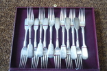 Новый серебряный набор столовых вилок и ложек на 12 персон 84 пробы, фото №4