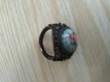 Лот-5. Набор украшений с финифти: перстень,цепочка с кулоном,серьги., фото №5