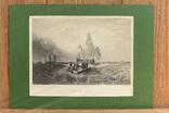 Большая Антикварная гравюра Boats off Calais, фото №2