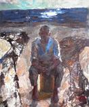 """""""Рыбак"""", (на обратной стороне Ленин с детьми),50/42,5см,Шаврин В.А.(1936-1990), фото №2"""