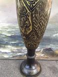 Ваза Индия большая тяжелая штихельный узор 38 см, фото №4